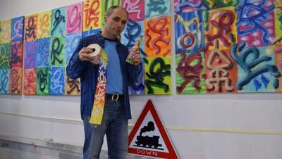 Maler und Street-Art-Künstler Pirmin Breu aus Wohlen wurde im erstenLockdown kreativ. (Pascal Bruhin (7. Januar 2021))