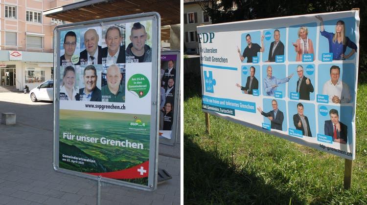 «Für ein freies und tolerantes Grenchen»:Wahlplakat der FDP auf der Schild-Rust-Wiese. (Andreas Toggweiler)