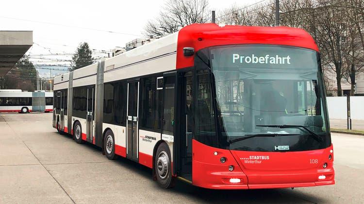 Visualisierung einesDoppelgelenktrolleybusses für den Stadtbus Winterthur. (zvg/Stadtbus Winterthur)