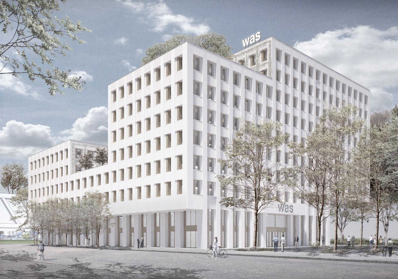 Das neue Bürogebäude für das Sozialversicherungszentrum WAS Wirtschaft Arbeit Soziales Luzern.