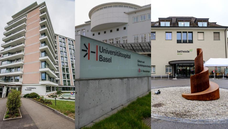 Ein Eingriff kostet am Kantonsspital Baselland (l.), am Basler Unispital (M.) oder am Bethesda (r.) nicht gleich viel. (Bilder: niz/mto/ken)