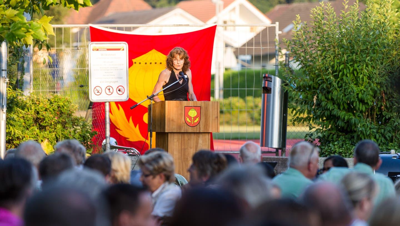 GemeinderätinMarlène Fehlmann an der 1. August-Feier in Mägenwil, 2018 (Sandra Ardizzone / BAD)