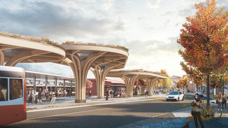 So wie auf dieser Visualisierung könnte einst der neue Bushof beim Bahnhof Amriswil aussehen. (Bild: PD/Studio Vulkan)