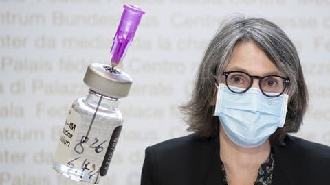 BAG-Direktorin Anne Lévy vor den Medien in Bern im Dezember 2020. (Bild: Keystone)