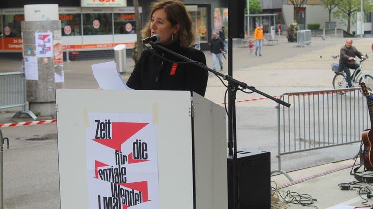 Nationalrätin Franziska Roth bei ihrer engagierten Rede (André Weyermann)
