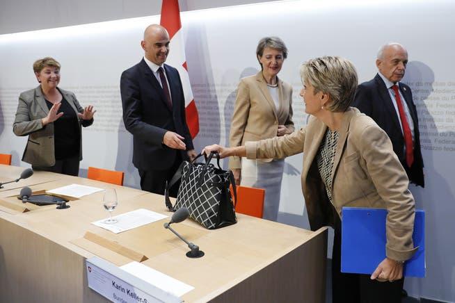 Vier Bundesräte erfuhren erst in letzter Minute vom EU-Angebot (Reihe von links): Viola Amherd, Alain Berset, Simonetta Sommaruga und Ueli Maurer.