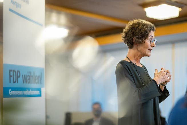 Online-Parteitag der FDP Aargau mit der Wahl von Sabina Freiermuth als neue FDP-AG Präsidentin. Aufgenommen am 11. Mai 2021 in der AIHK (Handelskammer) in Aarau.
