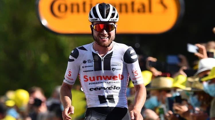 Marc Hirschi gehört zu neuen Stars im Radsport: Vergangene Saison feierte der 22-jährige Berner mehrere Erfolge, darunter den Etappensieg an der Tour de France vonChauvigny nachSarran. (Stuart Franklin / Pool / EPA)