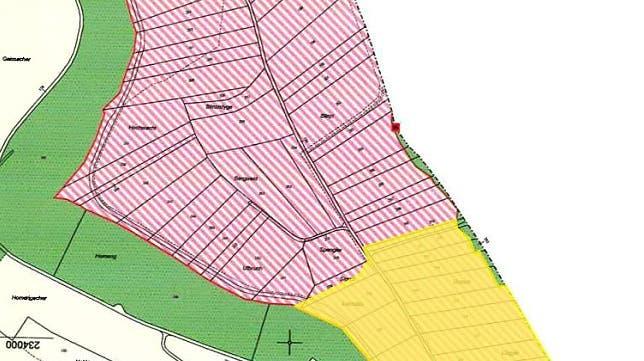 Rote Schraffur: genehmigte Abbauzone (Phase 1),Gelb: Beschluss an Gemeindeversammlung 2010, ausstehende Genehmigung durch Regierungsrat (Phase 3) (Bild: PD)