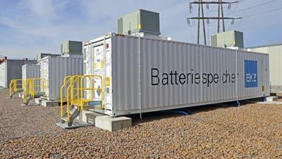 So sieht eine bestehende Grossbatteriespeicher-Anlage des EKZ im zürcherischen Volketswil aus. (Bild: PD)