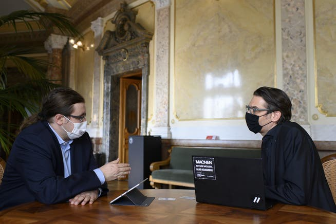 «Die Analyse braucht Zeit»: Grünen-Nationalrat Gerhard Andrey (rechts), hier mit GLP-Nationalrat Jörg Mäder.