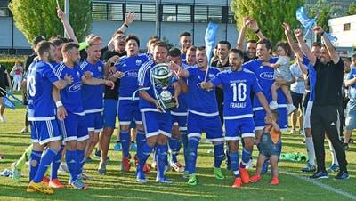 Der FC Bellach feiert 2017 den ersten von zwei Cupsiegen in Serie. Ob es in dieser Saison ähnliche Jubelbilder geben wird? (Remo Fröhlicher)
