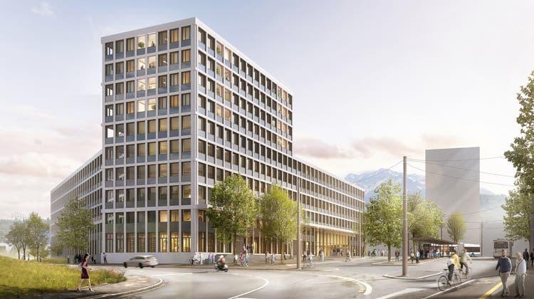 So soll das Verwaltungsgebäude am Seetalplatz in Emmenbrücke aussehen. (Visualisierung: PD)