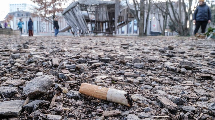 Zigarettenstummel auf Kinderspielplatz, St. Johanns-Park Basel Rauchen Abfall Littering (Kenneth Nars / BLZ)