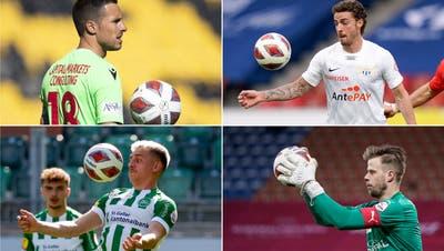 Sind im Abstiegskampf (von links oben im Uhrzeigersinn): Kevin Fickentscher (FC Sion), Marco Schönbächler (FC Zürich), Benjamin Büchel (FC Vaduz) und Basil Stillhart (FC St.Gallen). (Key/Fresh)