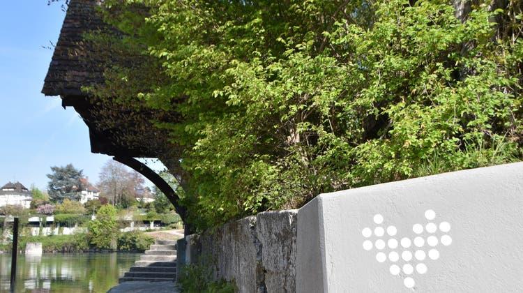 Herzen am Uferweg– hier in Rheinfelden– stehen symbolisch für den Rheinuferrundweg extended. (Horatio Gollin(27. April 2021))