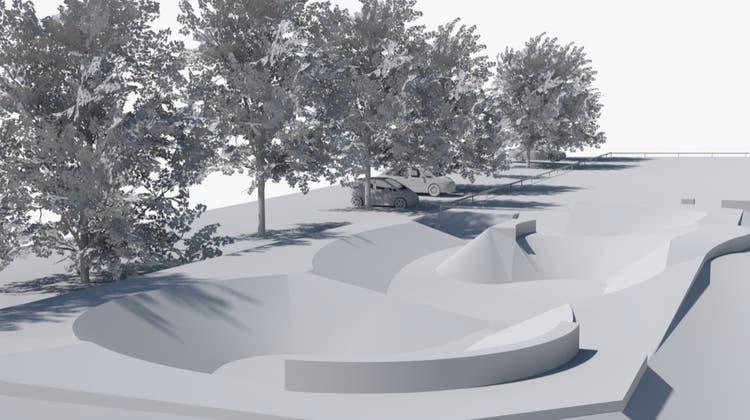 Die Visualisierung zeigt die Dimensionen des geplanten Skate- und Bewegungsparks beim Badiparkplatz. (Bild: PD)