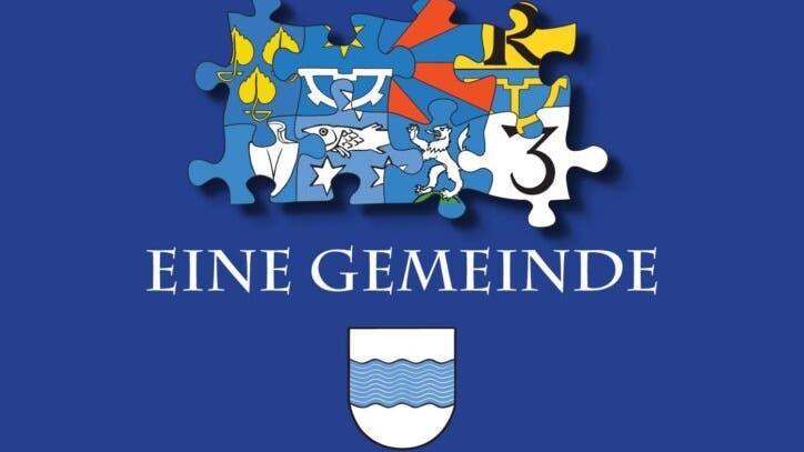 Der Flyer zur Sonderausstellung mit dem «neuen» Wappen sorgt für Irritation. Abgebildet sind oben die Wappen der acht Gründergmeinden. Unten das Logo mit neun Wellenlinien. (zvg)