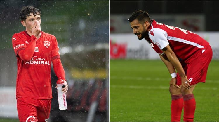 Einer der beiden muss in die Challenge League runter: Der FC Vaduz mit Linus Obexer (links) oder der FC Sion mit Matteo Tosetti. (Bilder: Freshfocus)