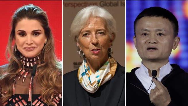 Entscheiden über den Austragungsort: Die Königin von Jordanien Rania Al Abdullah, die Präsidentin der Europäischen Zentralbank Christine Lagarde und der Gründer von Alibaba Jack Ma.