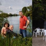 Thomas Lampart, Beatrice Vetter und Beat Lüthi am Ort der Sommerbeiz. Im Hintergrund das Aareinseli. (Hanspeter Bärtschi)