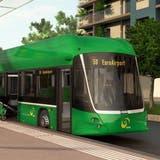 So soll derElektro-Doppelgelenkbus aussehen. (Visualisierung: zvg/ BVB)