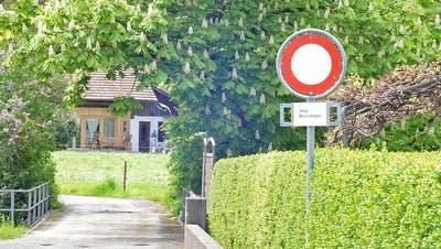 Ohne rechtliche Grundlage und darum illegal: Die Fahrverbotssignalisation von der Oberkulmer Dorfstrasse in die Mühlefeldstrasse. (Wolfgang Rytz)