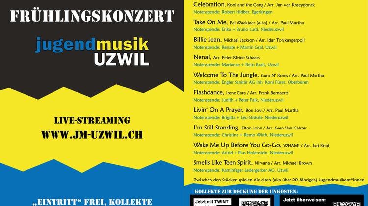 Frühlingskonzert der Jugendmusik Uzwil –Livestreaming