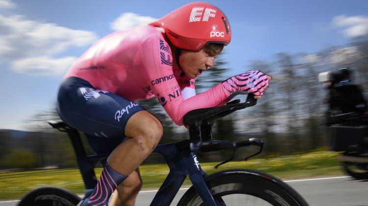 Stefan Bissegger erkämpft sich im Zeitfahren den sensationellen zweiten Rang. (Keystone)
