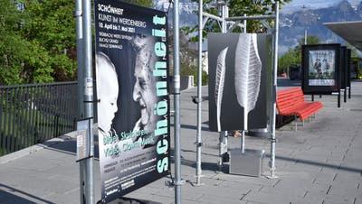 Das Ausstellungsplakat und dahinter die Fotografie «Meerrettich »von Sepp Köppel auf dem Buchser Bahnhofplatz. (Bilder: Heini Schwendener)