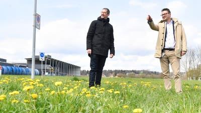 Stadtplaner Thomas Gerber und Stadtpräsident Roger Martin schauen sich im Industriequartier Hof die freien Wiesenflächen an, die bald überbaut werden sollen. (Bild: Donato Caspari)