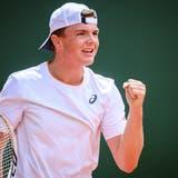 Dominic Stricker zeigt in Genf ein eindrückliches ATP-Debüt. (Bild: Keystone)
