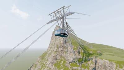 Der neue, stärkere und grössere Mast soll in umgekehrter V-Form über den Felsen hinweg gebaut werden. (Visualisierung: PD)