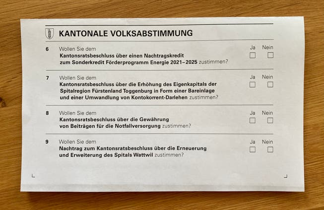 Stimmzettel für den 13. Juni: Die neunte Abstimmungsfrage zum Spital Wattwil ist verwirrend.