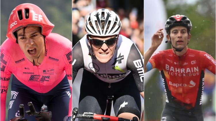 Die neuen Schweizer Talente: Stefan Bissegger, Mauro Schmid und Gino Mäder (von links). (Keystone, AP, Freshfocus)