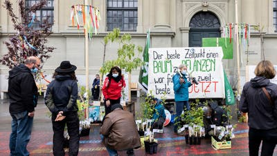 Kurz vor Mittag verteilten am Freitag in Bern Gärtnerinnen und Gärtner Setzlinge an die Passanten. (Severin Bigler)