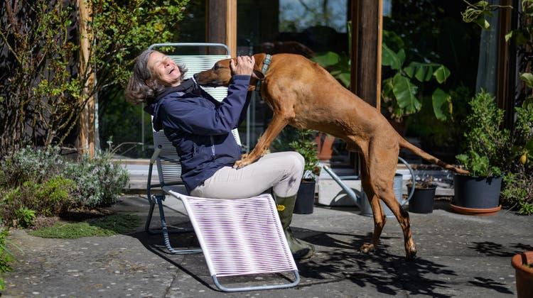 Monika Pearson und Hund Babar geniessen ein paar rare Mai-Sonnenstrahlen.