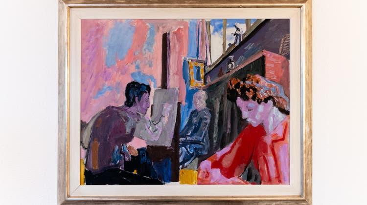 Eine typische Atelierszenedes jungen Künstlers, mit Mutter und Ehefrau