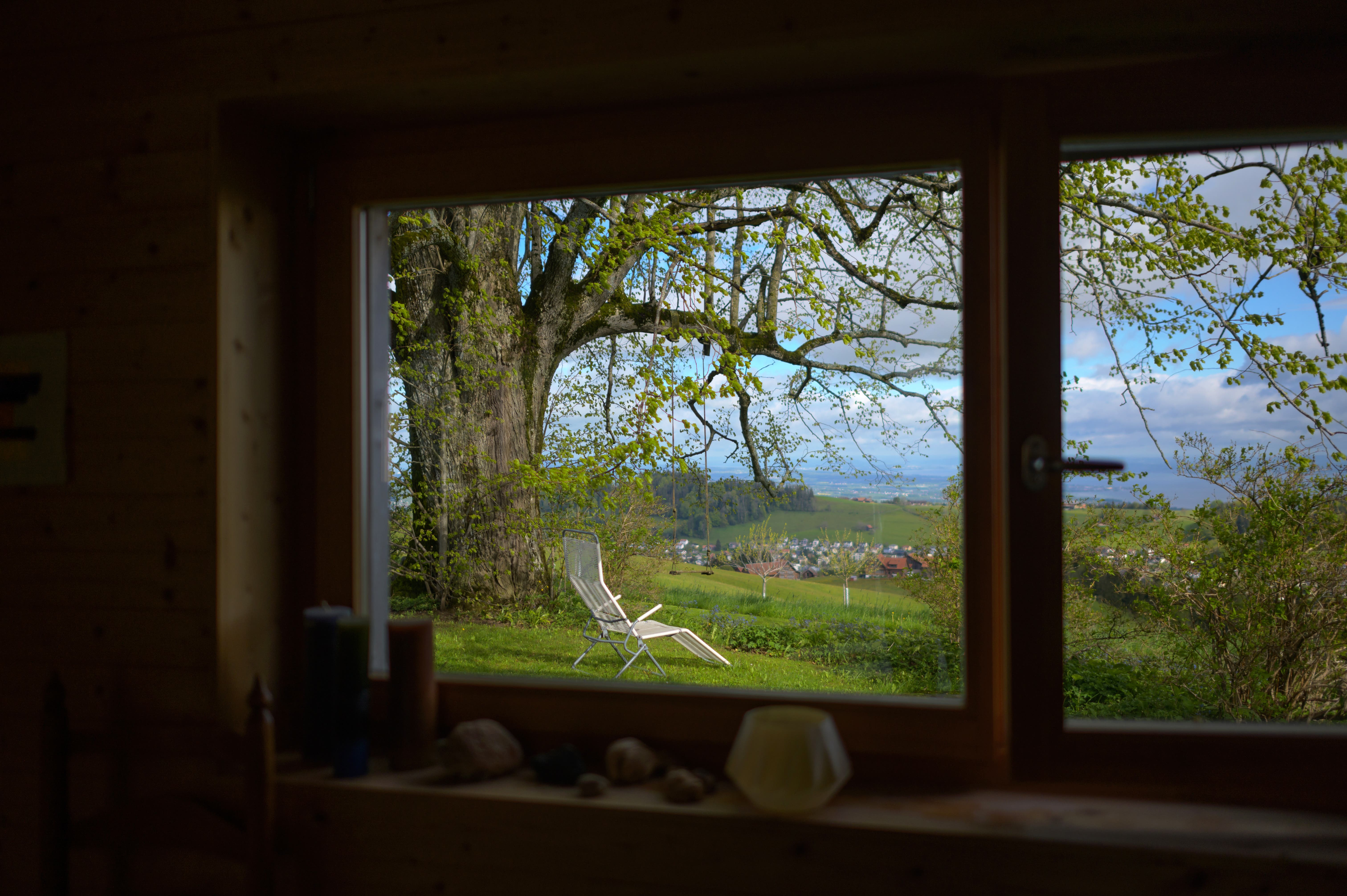 Aus dem Fenster geht der Blick zur grossen Linde und hinüber bis zum Bodensee.