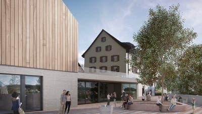 So könnte der Eingangsbereich zum Gemeindehaus Rudolfstetten-Friedlisberg in Zukunft aussehen (Visualisierung: Umw)