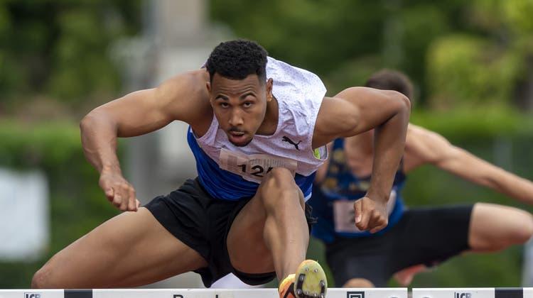 Jason Joseph kommt noch nicht an die Olympia-Limite von13,32 Sekunden heran. (Georgios Kefalas / KEYSTONE)