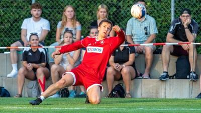 Das war vor einem Jahr: Die Schweizer Nationalmannschaft (im Bild Tim Egolf) begeisterte trotz 3:4-Niederlage gegen Weltmeister Deutschland. (Fabio Baranzini)