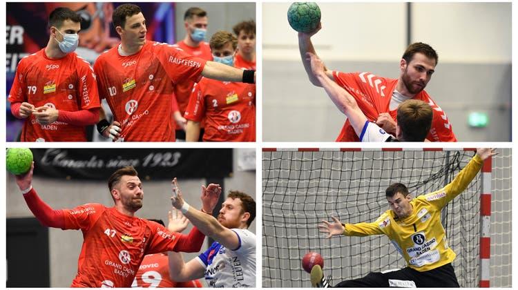 Sven Schafroth und Simon Huwyler (oben links) machen mit dem Handball Schluss, Milomir Radovanovic (oben rechts), Joel Huesmann (unten links) und Vit Schams (unten rechts) müssen den Verein verlassen. (Alexander Wagner/AZ-Montage)