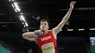 Simon Ehammer ist überzeugt, die Kugel so weit stossen zu können wie noch nie an einem Wettkampf. (Darko Vojinovic / AP)