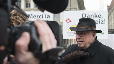 Vor 25 Jahren lehnte die Schweiz den EWR ab: Altbundesrat Christoph Blocher spricht am 6. Dezember 2017 dazu, 25 Jahre später. (Keystone(Bern, 6. Dezember 2017))