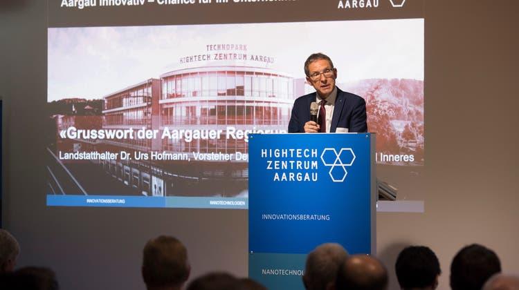 Das Hightech-Zentrum Aargau blickt auf ein erfolgreiches Jahr zurück. Im Bild: Der damalige Regierungsrat Urs Hofmann am Jubiläumsanlass vom16. Mai 2018. (Alex Spichale / AGR)