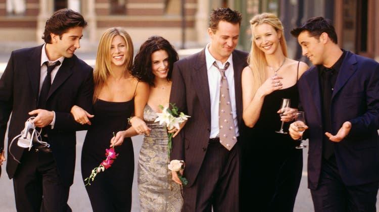 Courteney Cox, Jennifer Aniston, Lisa Kudrow (vorn, von links) und Matthew Perry, Matt LeBlanc und David Schwimmer (hinten, von links) haben sich zu einer Wiedervereinigung getroffen. (HBO Max)