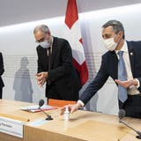 Wurde auch im Ausland genau verfolgt: Die Medienkonferenz zum Rahmenabkommen in Bern. (Keystone)