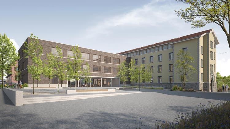 So soll die Bezirksschule Halde in Wohlen ab 2026 aussehen – falls das 56-Millionen-Projekt am 13. Juni angenommen wird. (Visualisierung: zvg)