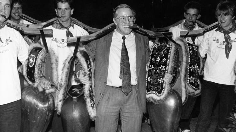 Mit Stumpen und Treicheln gegen den EWR: Christoph Blocher im November 1992. (Bild: Keystone)